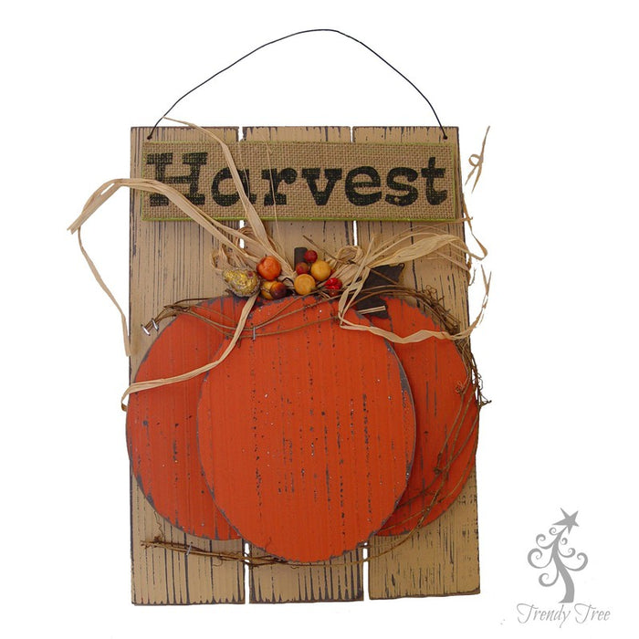 Pumpkin Harvest MDF with Raffia Wall Hanging 239861