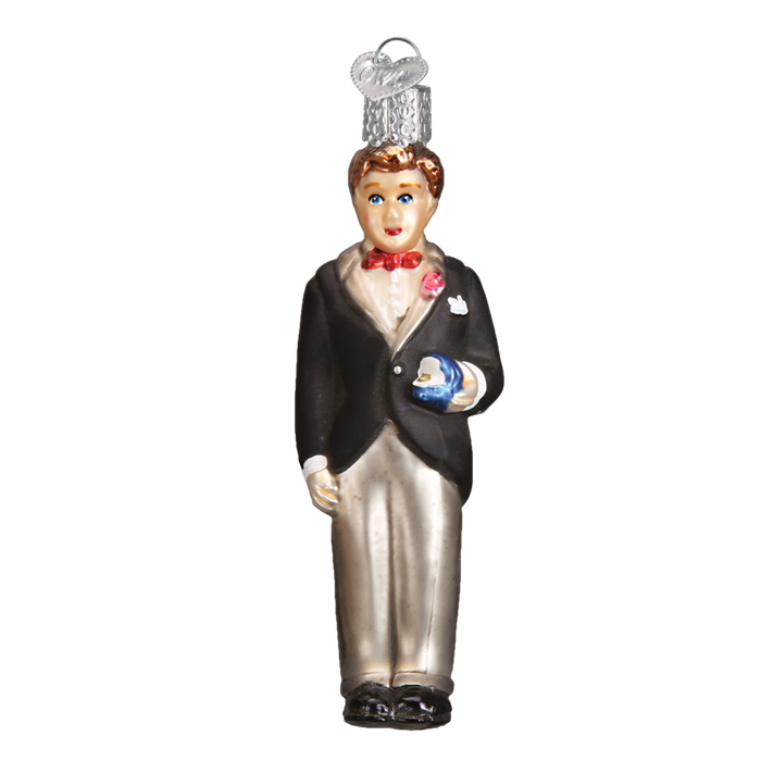 Brunette Groom 24174 Old World Christmas Ornament