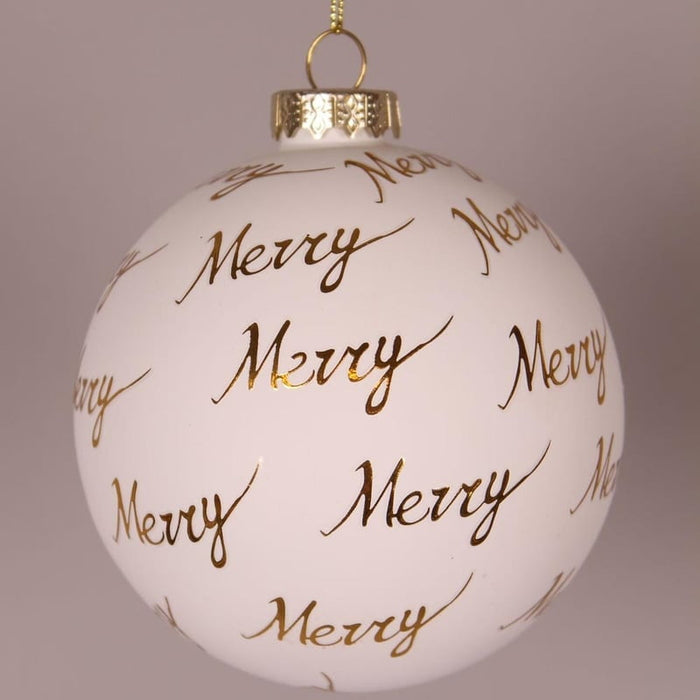 "4"" Ivory Gold Merry Ball Ornament"
