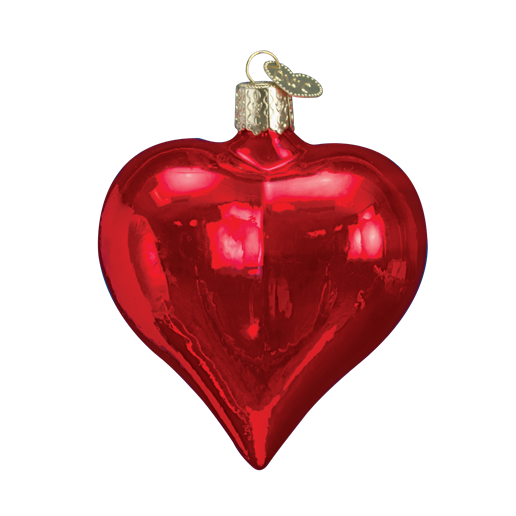 Large Shiny Red Heart 30012 Old World Christmas Ornament