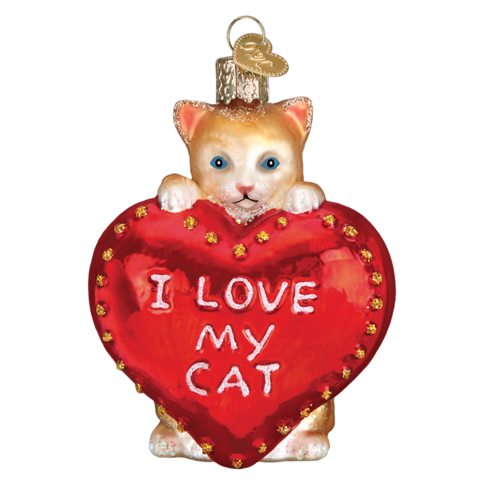 I Love My Cat Old World Christmas Ornament 30051