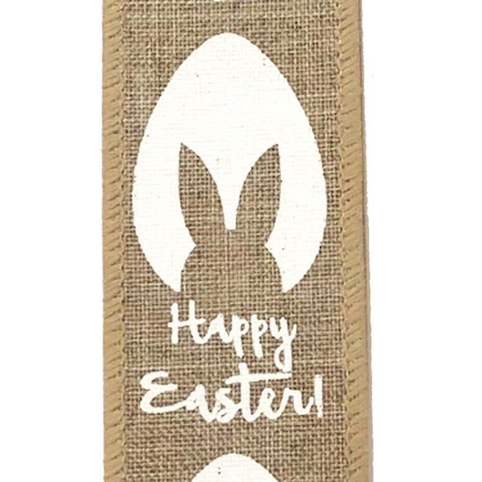 "1.5"" Natural Linen Egg Outline with Bunny Ears Ribbon 31001-09-01"