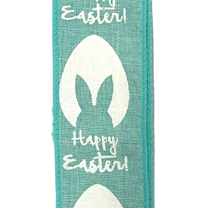 "1.5"" Aqua Mint Linen Egg Outline with Bunny Ears Ribbon"