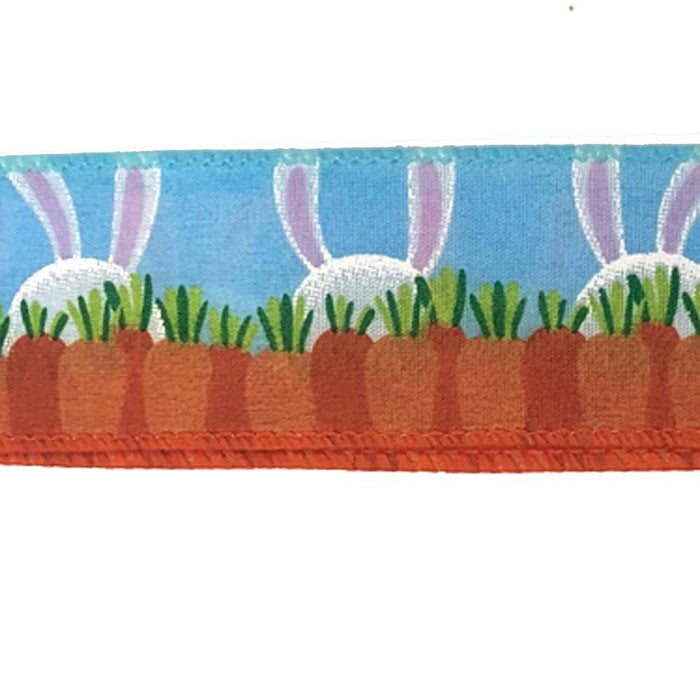 "1.5"" Blue Satin Bunny Ears & Carrots Easter Ribbon"