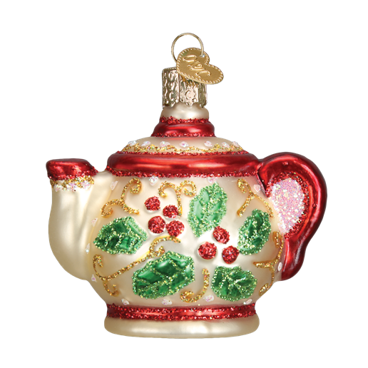Holly Teapot 32247 Old World Christmas Ornament