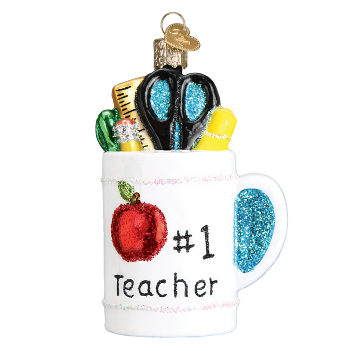 Best Teacher Mug 32318 Old World Christmas Ornament