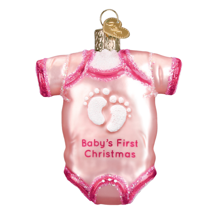 Pink Baby Onsie Old World Christmas Ornament 32338