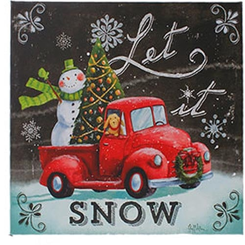 "RAZ 20"" Lighted Print Snowman in Truck"