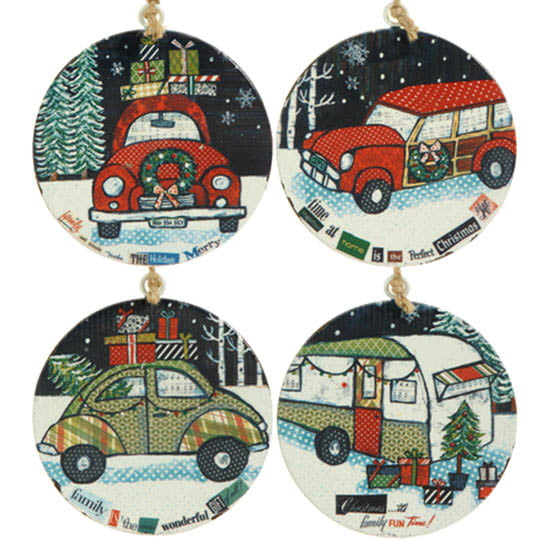 "RAZ 6"" Automobile Flat Metal Disk Ornament Set of 4"