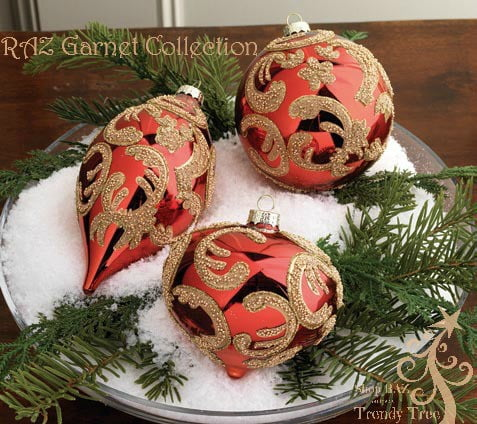 RAZ Beaded Scroll Red Gold Ornament Set of 3