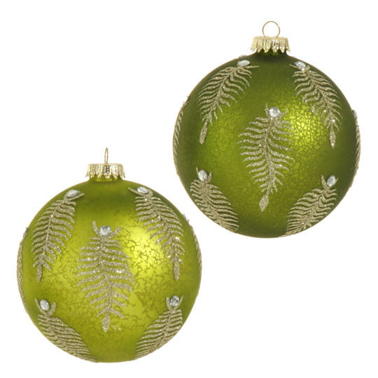 RAZ Glittered Green Fern Ball Set of 2