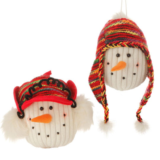 "RAZ 6.5"" Snowman Head with Knitted Caps Ornament Set of 2"