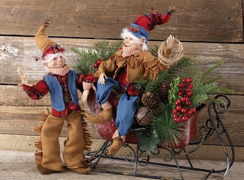 RAZ Cowboy Elf Set of 2