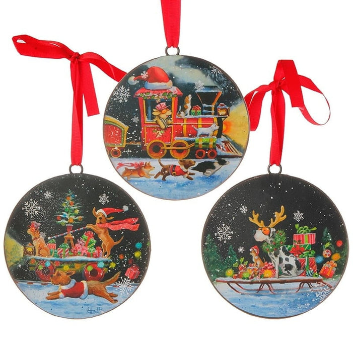 RAZ Dog Art Christmas Ornament Set of 3
