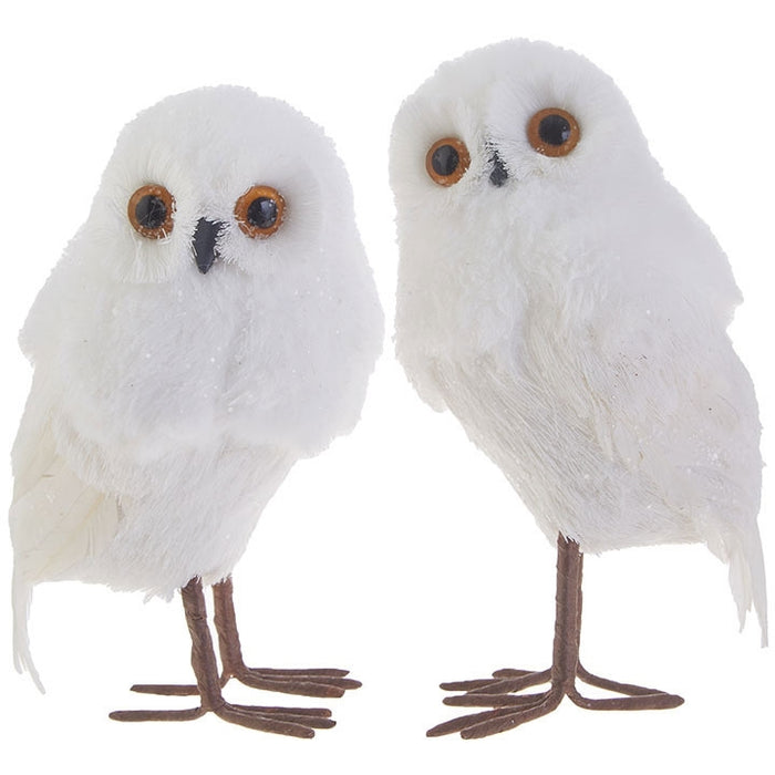 "5.5"" White Feathered Owl Christmas Ornament Set of 2"