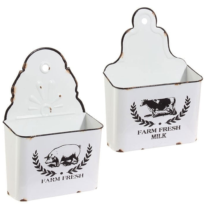 RAZ Distressed Farm Fresh Wall Bin Set of 2