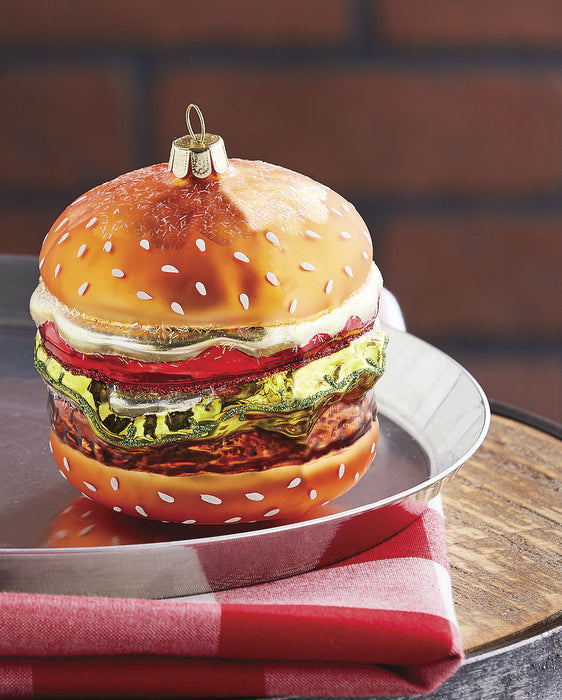 RAZ Hamburger Christmas Ornament