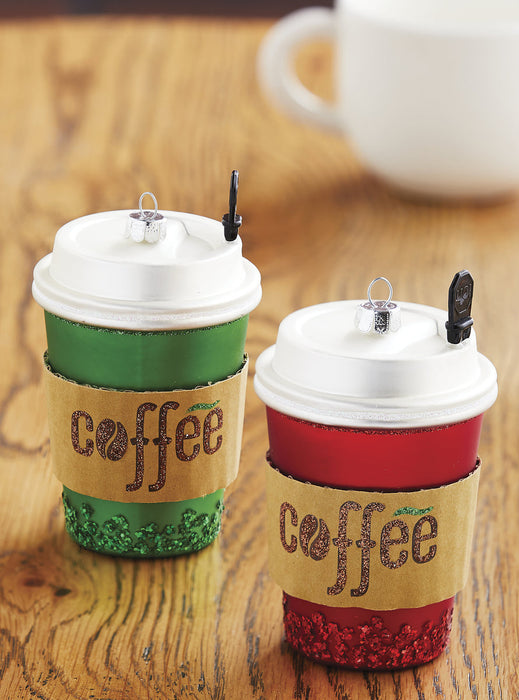 RAZ Red Green Coffee Cup Christmas Ornament Set of 2