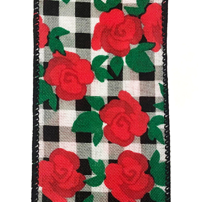 "2.5"" Black White Gingham Red Rose Print Ribbon 41018-40-21"