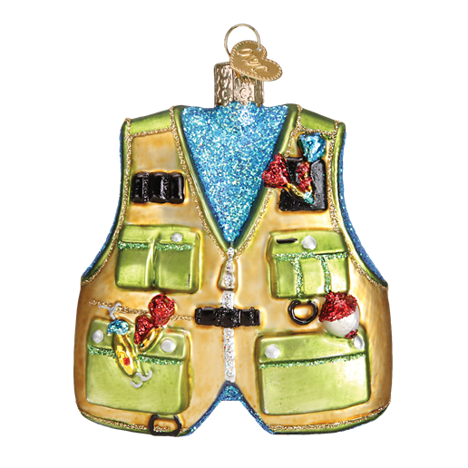 Fishing Vest 44091 Old World Christmas Ornament