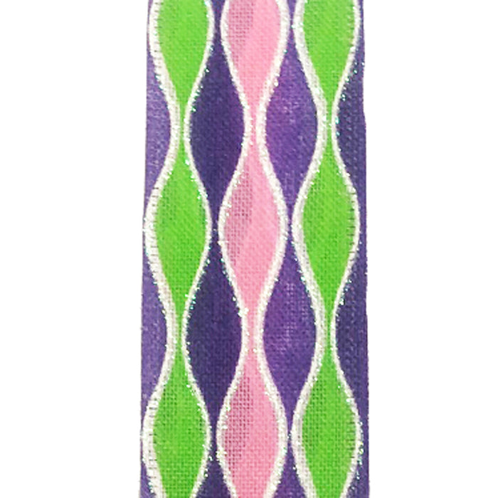 "1.5"" Purple Pink Lime Linen Wavy Stripes"