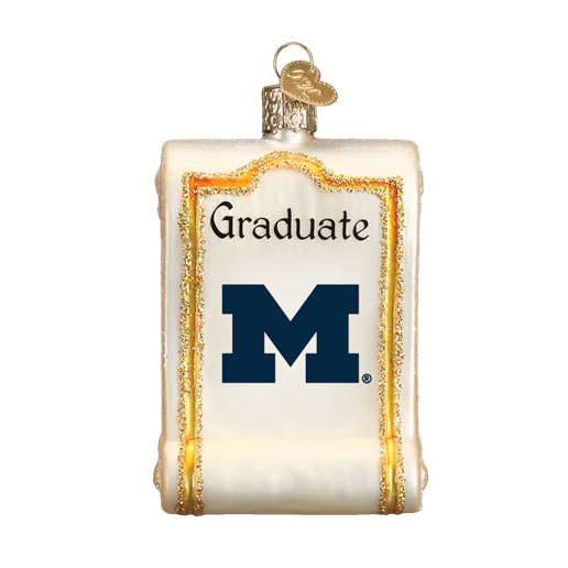 Michigan Diploma 60712 Old World Christmas Ornament