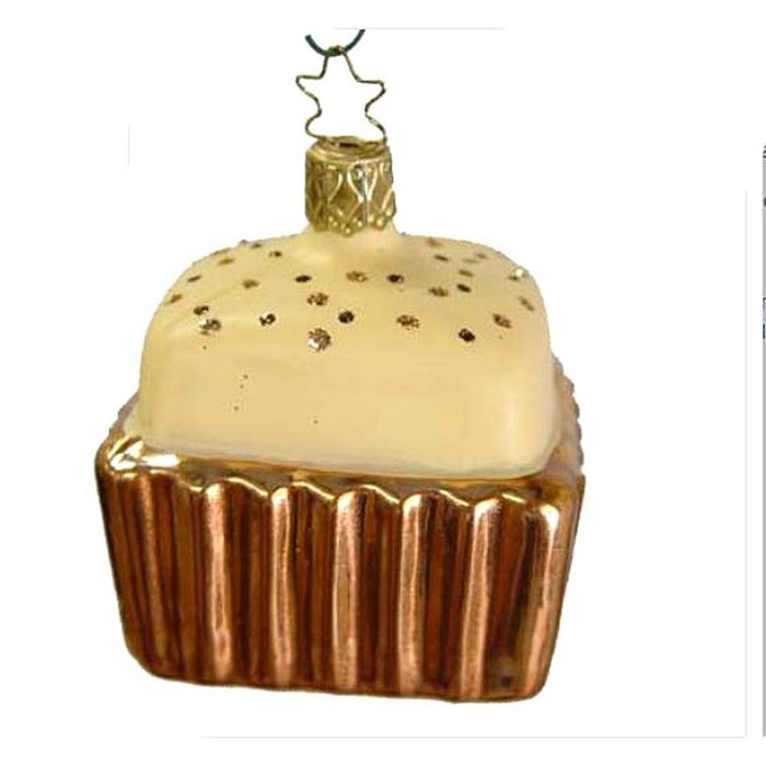 Square Copper Cupcake Creamy White Chocolate Top Inge-Glas Christmas Ornament 68110