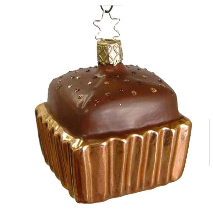 Square Copper Cupcake Milk Chocolate Top Inge-Glas Christmas Ornament 68110