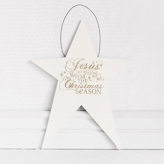 "16"" White Wood Star Jesus is the Reason"