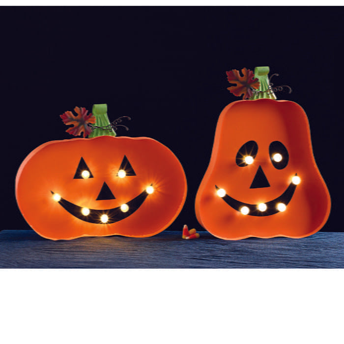 Lighted Jack O'Lantern Wall Hanging Set of 2