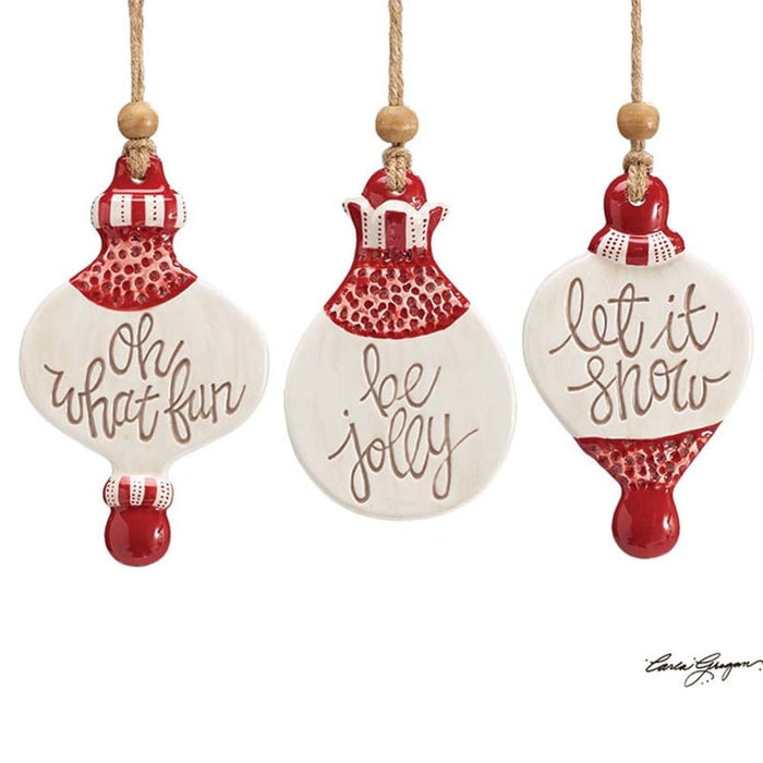 Hand Painted Ceramic Message Christmas Ornament Set of 3