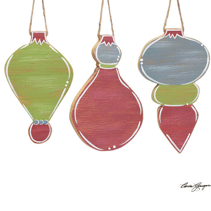 Hand Painted Blank Wood Ornament Set of 3