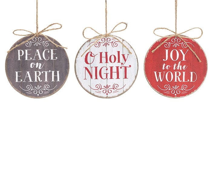 Wood Slat Ornament with Message Set of 3