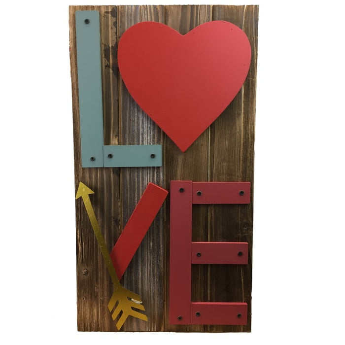Wood Metal Valentine Love Wall Hanging A1350