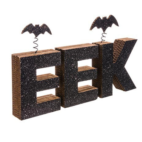 "12"" Glittered EEK Sign with Bats"