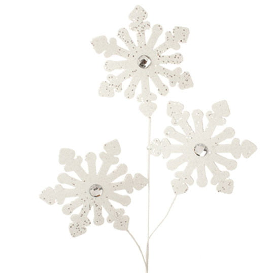 "32"" RAZ Glittered White Snowflake Spray"