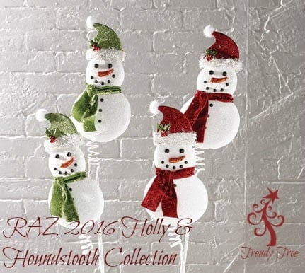 "RAZ 31"" Snowman Spray Red Green Set of 2"