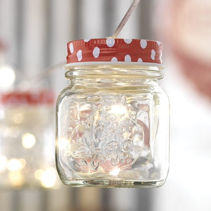 RAZ 7.5' Mason Jar Red Cap String Lights