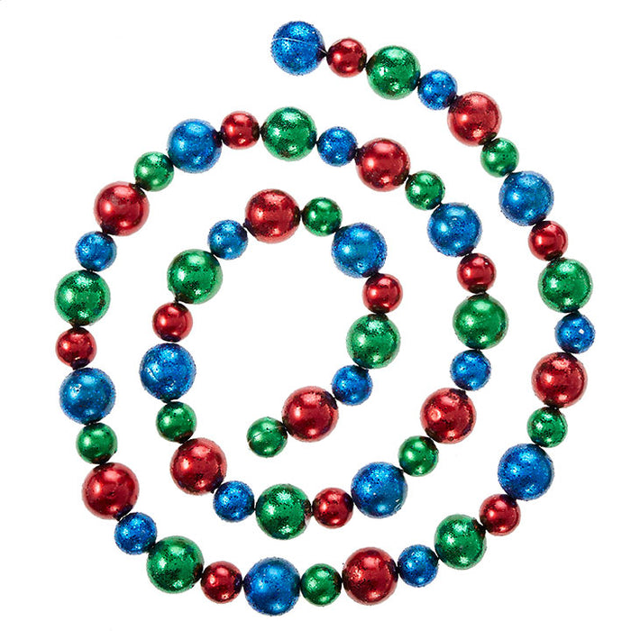 RAZ 6' Red Blue Green Ball Garland