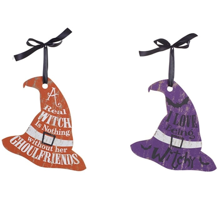 "10"" MDF Witch Hat Wall Hanger Set of 2"