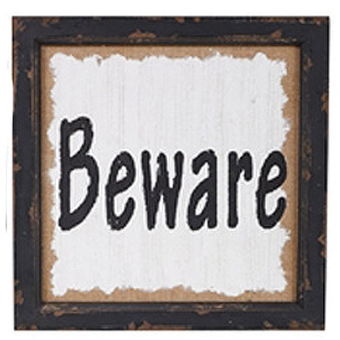 Rustic Beware Halloween Sign