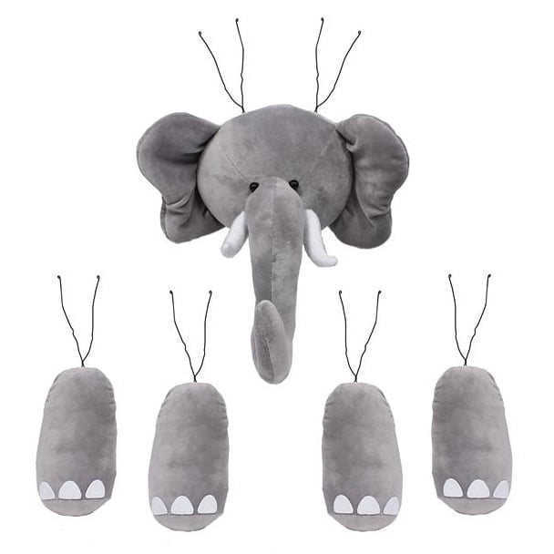 Gray 5 Piece Elephant Decor Kit MD0214