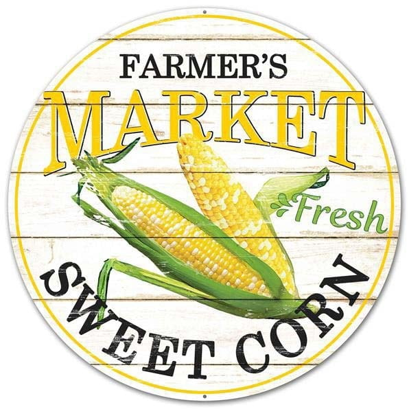"12"" Farmers Market Sweet Corn Round Metal Sign"