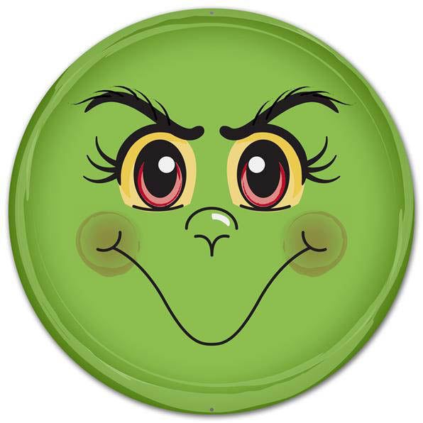 Round Metal Green Monster Face Wall Hanging