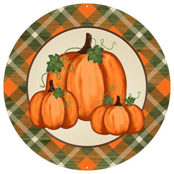 "12"" Metal Pumpkin Plaid Edge Sign"