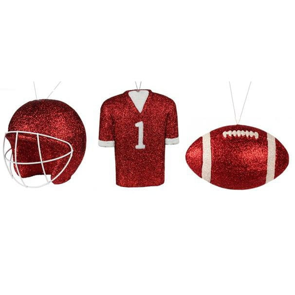 Helmet Jersey Football Red White Set of 3