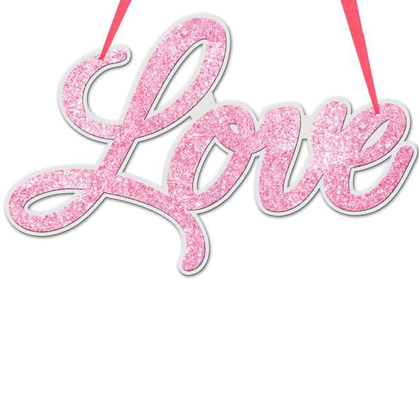Glittered Love Sign Pink White