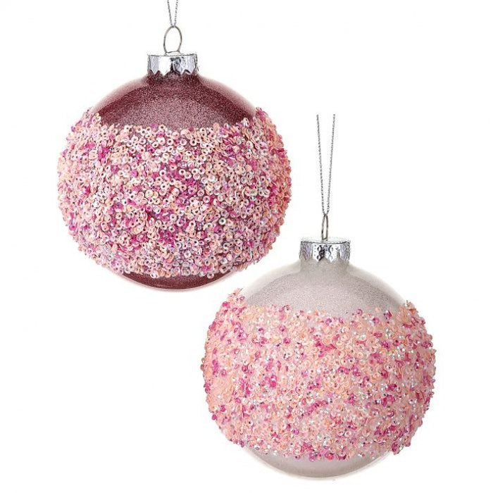 "4"" Glass Glitter Beaded Striped Pink Ball Ornament Set of 2 MTX62457"