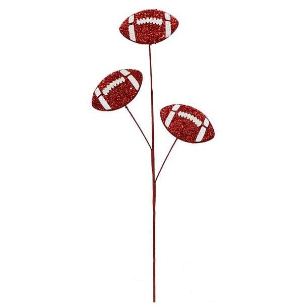"24"" Red & White Glitter Triple Football Pick"