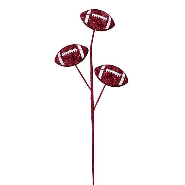 "24"" Crimson & White Glitter Triple Football Pick"